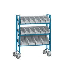 Montážní vozík fetra® sprůhlednými skladovacími boxy