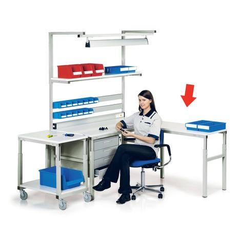 Narożny stół dostawiany do rozbudowy stanowiska pracy