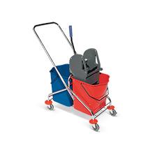 Nasswischwagen BASIC, Doppelfahreimer 2 x 17 Liter mit Chromgestell
