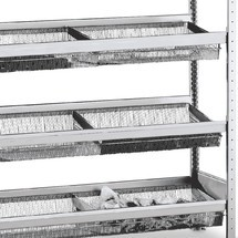 Nivel de cesta para estantería de cargas pequeñas SCHULTE con cestas de malla estrecha
