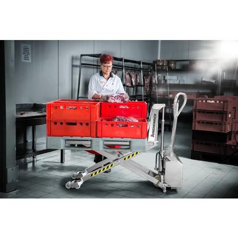 Nožnicový paletový vozík z ušľachtilej ocele Jungheinrich AMX I15ep – profesionálne vyhotovenie