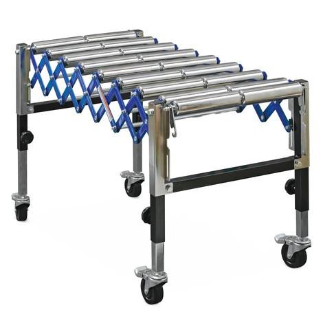 Nożycowy przenośnik rolkowy Ameise®, rolki podwójne, udźwig 180 kg