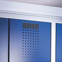Nummerierung für Garderobenschrank Belüftungslochfeld, 300 und 400mm