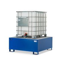 Ocelová sběrná vana Steinbock® na KTC/IBC, připravená pro manipulaci vysokozdvižnými vozíky