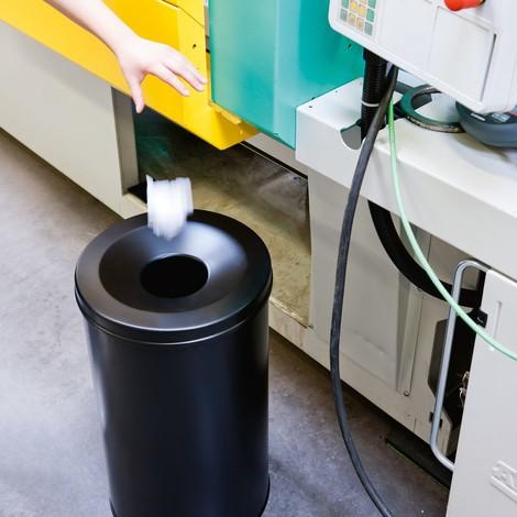 Ocelový koš na papírový odpad svíkem sfunkcí samozhášení