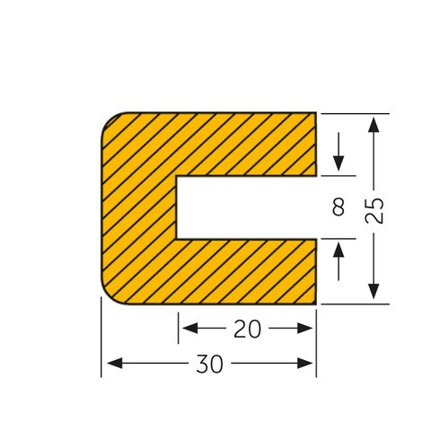 Ochranný obdĺžnikový profil, nasadzovací