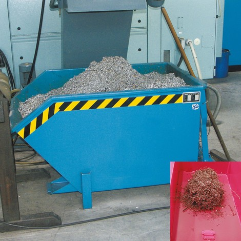 Oddělovací vyklápěcí kontejner, mezilehlá dělicí přepážka z děrovaný plech, lakovaná, objem 1,5 m³