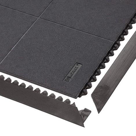 Okrajová lišta pro modulární podlahový systém na montážní pracoviště