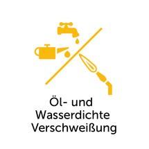 Olie- en waterdichte lasverbinding voor kantelbakken, lage constructie