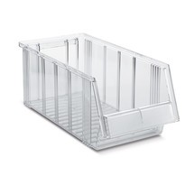 Open-fronted storage bins, transparent