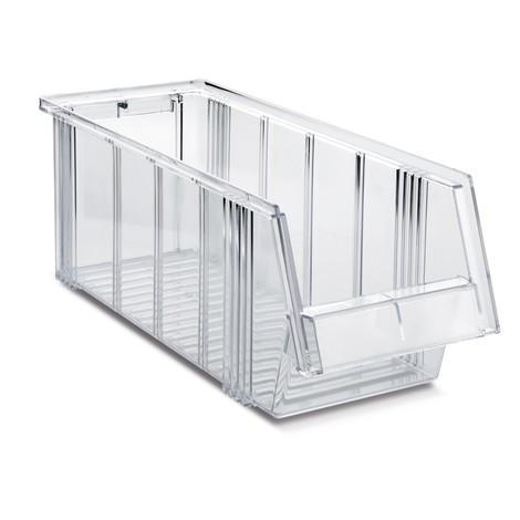 Open-fronted storage bins, transparent