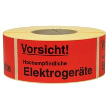 """Opmerking label """"Wees voorzichtig! Zeer gevoelige elektrische apparaten"""""""