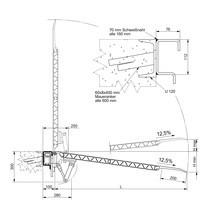 Oprijplaat voor laadperron, verschuifbaar. Capaciteit 4000kg, breedte 1,25/1,50m