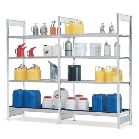 Opslagniveau voor gevaarlijke-stoffenstelling asecos®, voor waterverontreinigende, agressieve vloeistoffen