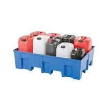 Opvangbak PE, onderrijdbaar, voor 2 x 200 liter vaten