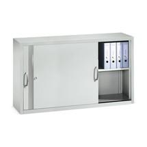 Opzetkast voor werkplaatsschuifdeurkast C+P, 2 legborden, hxbxd 790 x 1.600 x 400 mm, scheidingswand