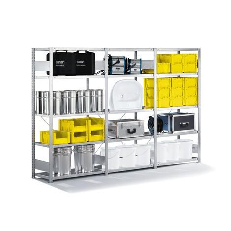 Pacchetto completo per scaffalatura a ripiani META con sistema a incastro, portata 230 kg per ripiano, zincata