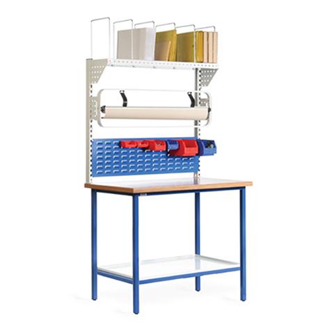 Packstation. 1 Ablage, 1 Schlitzplatte, Rollenhalter, Kartonagenmagazin