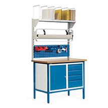 Packstation. 1 Schrank, 4 Schubladen, 1 Lochplatte, Rollenhalter, Karton.magazin