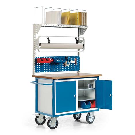Packstation. 2 Schränke, 1 Lochplatten, Rollenhalter, Kartonagenmagazin