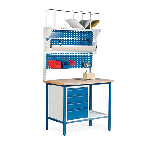 Packstation. 4 Schubladen, 2 Lochplatten, Rollenhalter, Karton.magazin, Waage