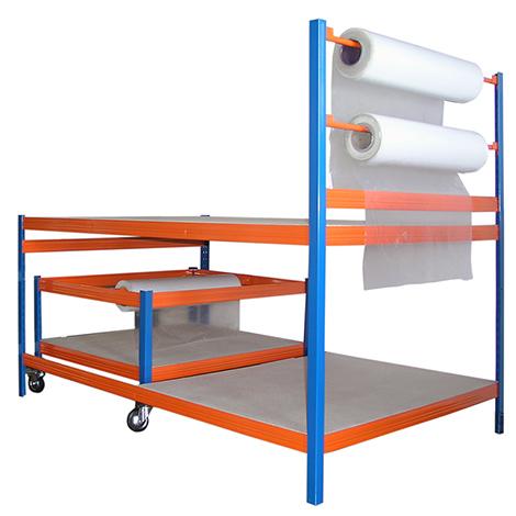 Packstation BASIC mit Rollenhalter + Rollwagen