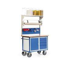 Packstation, fahrbar, 1 Schrank, Schubladen, 1 Lochplatte