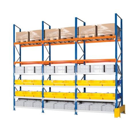 Pacote completo de estanteria híbrida, estanteria de paletes larga em aglomerado