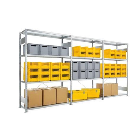 Pacote completo de estanteria larga em aglomerado META, carga de 230 kg por prateleira