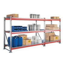 Pacote completo de estanteria larga em aglomerado META com painéis de aço, galvanizado/laranja avermelhado