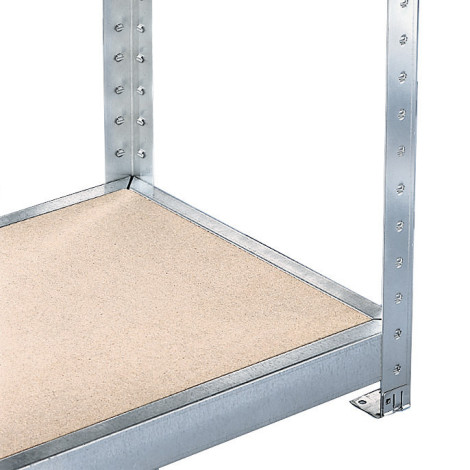 Pacote completo de estanteria larga em aglomerado META com painéis de aglomerado, carga de 500 kg por prateleira