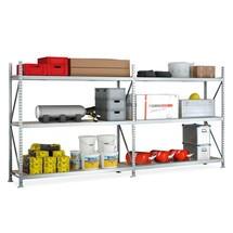 Pacote completo de estanteria larga em aglomerado META com painéis de aglomerado, carga de 600 kg por prateleira