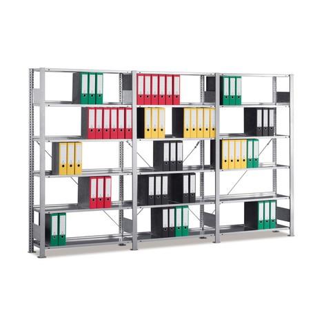 Pacote completo de estanteria para pastas de arquivo, AxLxP 1850 x 3000 x 300 mm, 6 prateleiras, galvanizadas