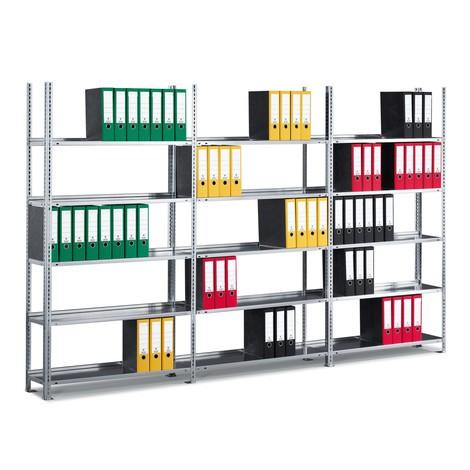 Pacote completo de estanteria para pastas de arquivo META, unilateral, sem prateleira superior, galvanizado