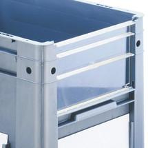 Painel de visualização para contêineres de empilhamento Euro para cargas pesadas, com abertura de visão
