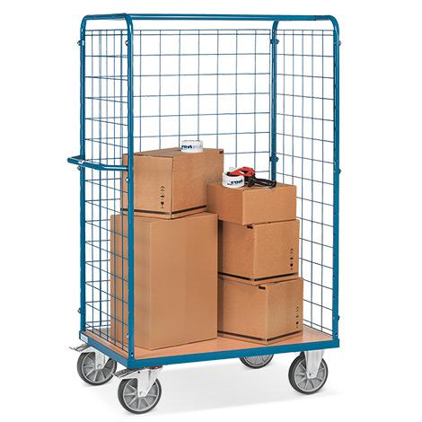 Paketwagen fetra®. 3-seitig mit Gitterwand. Tragkraft 600 kg