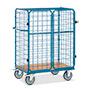 Paketwagen fetra® mit Doppeltüren oben offen. 4 Drahtgitterwände.