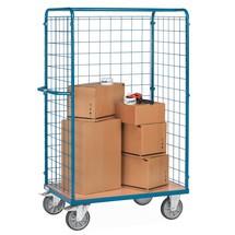 Pakketwagen fetra®. 3-zijdig met draadrooster, capaciteit 600 kg