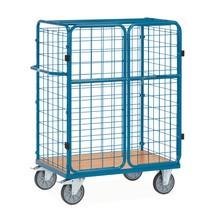 Pakketwagen fetra® met dubbele deuren. 4 gaasroosterwanden. Afsluitbaar