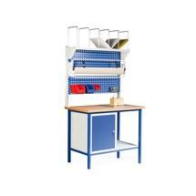Pakstation. 1 kast, 2 perfoplaten, stellingenrek, rolhouder, inbouwweegschaal
