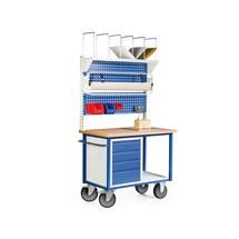Pakstation. 4 laden, 2 perfoplaten, rolhouder, stellingenrek, weegschaal