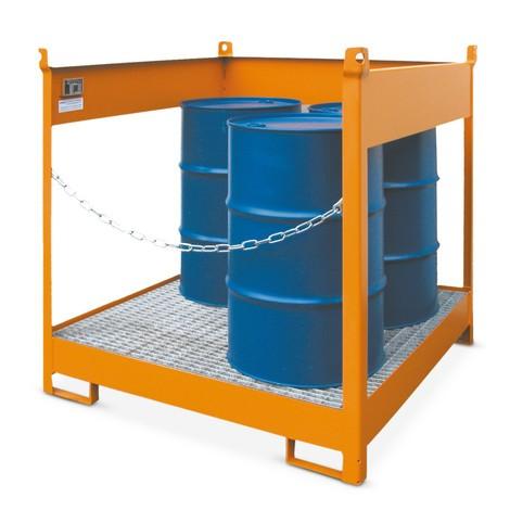 Palet de almacenamiento y transporte sobre cuba de contención