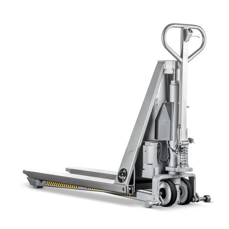 Paletový vozík snůžkovým mechanismem INOX zušlechtilé oceli, elektrohydraulický
