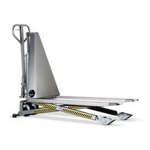 Paletový vozík snůžkovým mechanismem zušlechtilé oceli INOX PRO sfunkcí rychlého zdvihu