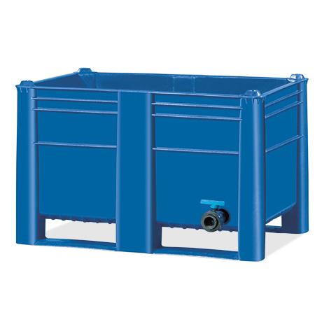 Palettenbox Blue mit Ablassventil. Inhalt 500 oder 600 Liter