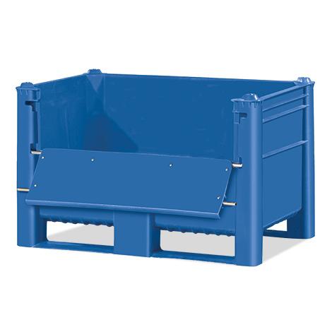 Palettenbox Blue mit Ladeklappe. Inhalt 500 oder 600 Liter