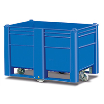 Palettenbox Blue mit Rollen, stapelbar. Inhalt 500 oder 600 Liter.