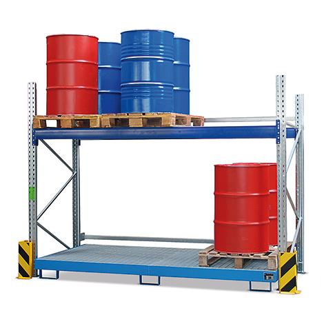 Palettenregal mit Auffangwannen für max. 12x200 Liter Fässer