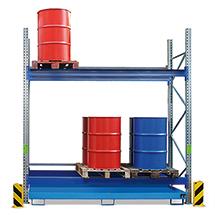 Palettenregal mit Auffangwannen für max. 4x1000 Liter IBC
