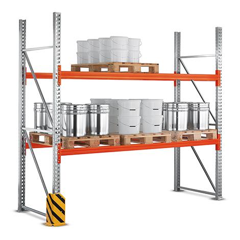 Palettenregal Multipal zur Tiefeneinlagerung. Fachlast bis 2400 kg. Grundfeld